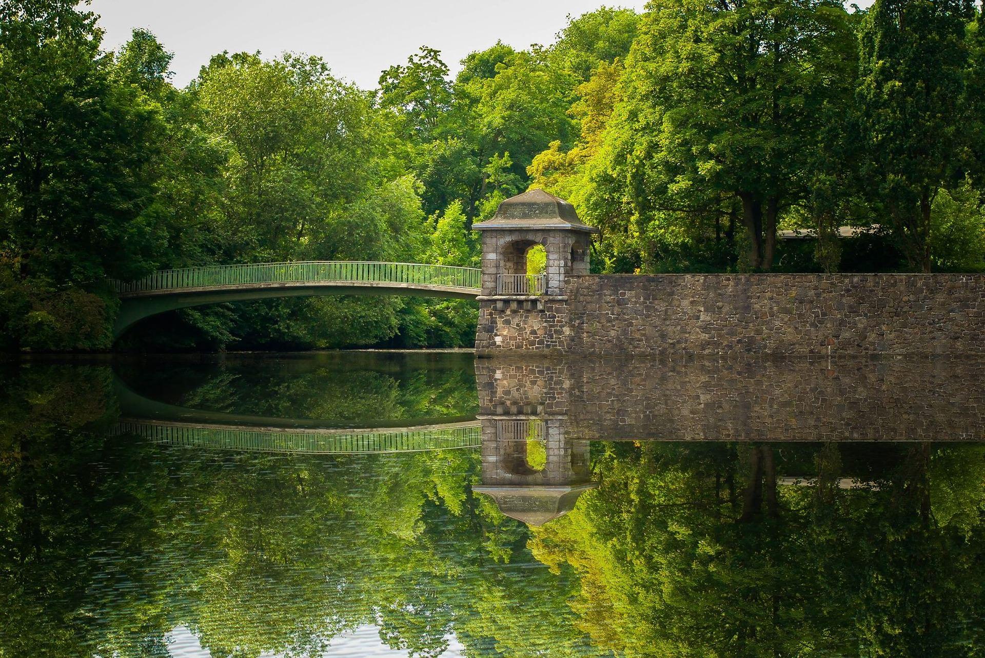 Hamburga, parks, Elba, zaļā zona, bridge