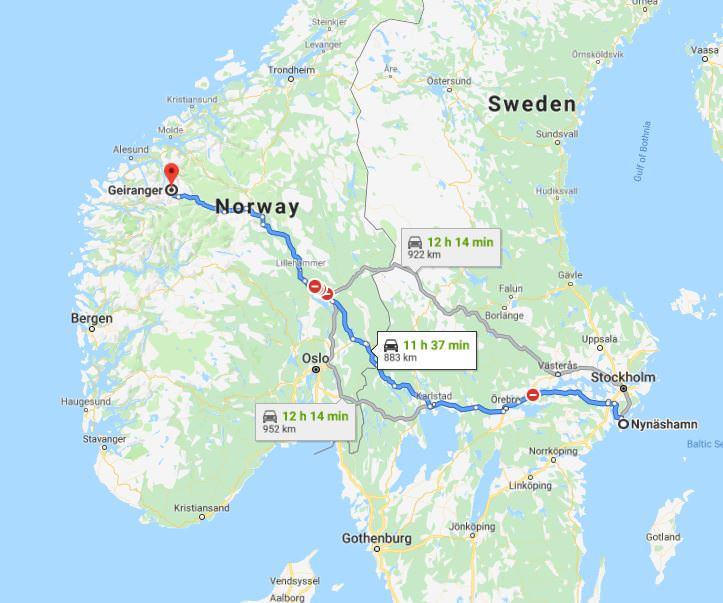 Norvēgija, karte, Geiranger, Geirangerfjord, fjords, klintis, Nīnashamna, Zviedrija, ar prāmi, ar auto uz Norvēģiju, Skandināvija, fjordu zeme, fjords