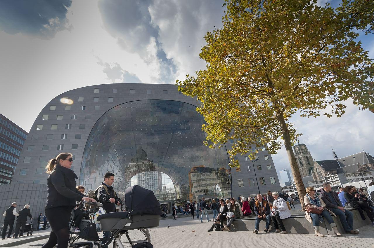 Tirgus paviljons, Roterdama, Nīderlande, Holande, tirgus halle, moderna arhitektūra, ceļo ar auto,