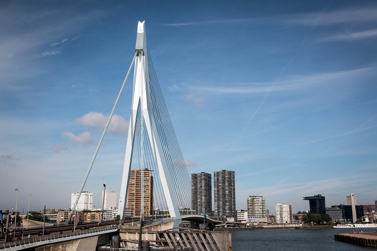 Tilts, Erasmus tilts, Roterdama, Nīderlande, Baltais gulbis, Maas, Maas upe, Tour de France posms, debesskrāpji