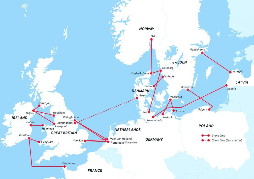 Stena Line prāmju maršruts, prāmji, prāmju tīkls, satiksme, Karte, kā nokļūt belfāstā, kā nokļūt īrijā