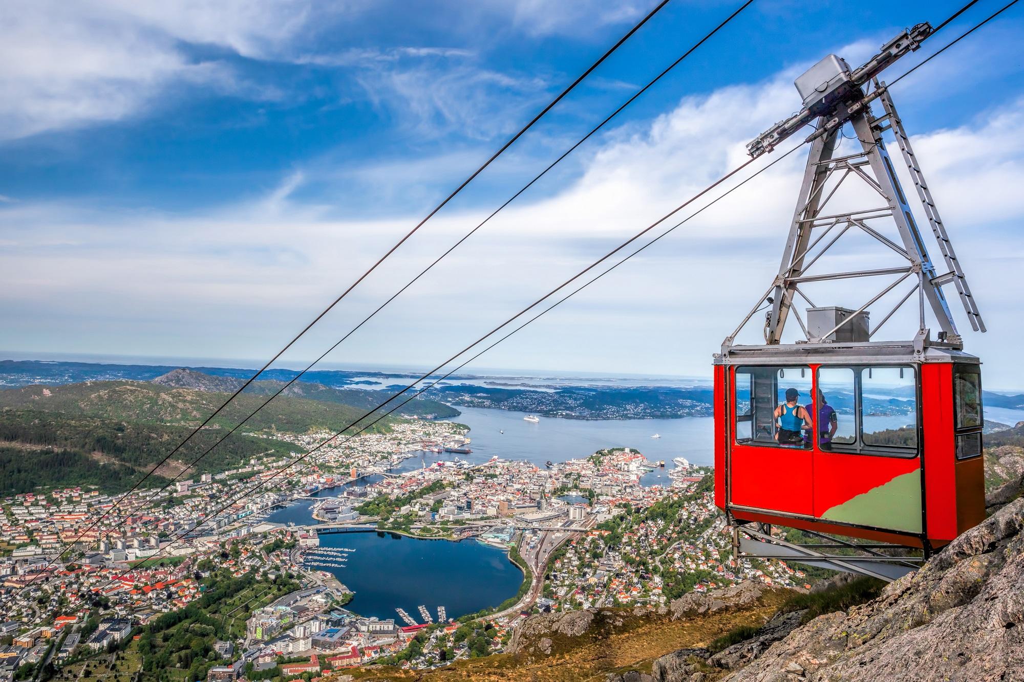 trošu vilciens, Bergena, Bergena no augšas, Ulriken, Ulriken kalns, augstākais Bergenas kalns
