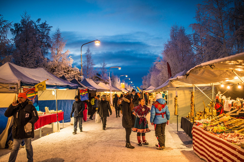 Zviedrija, Jokkmokk, tirgus, februārī, Lapzeme, Zviedrijas Lapzeme